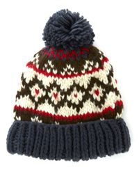 Barbour - Blue Nordic Pattern Easton Beanie - Lyst