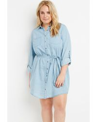 Forever 21 | Blue Plus Size Belted Chambray Shirt Dress | Lyst