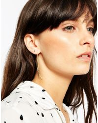 ASOS | Metallic Gold Plated Sterling Silver Mismatch Stud And Chain Earrings | Lyst