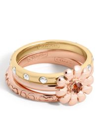 COACH | Multicolor Flower Stacking Ring | Lyst