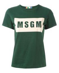 MSGM - Green Logo Print T-shirt - Lyst