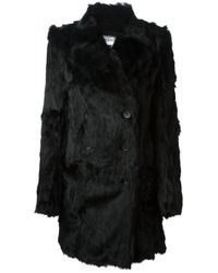 Ann Demeulemeester Blanche - Black Double Breasted Fur Coat - Lyst