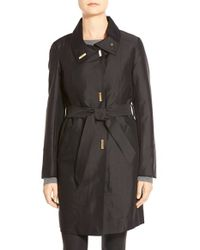Ellen Tracy | Black Belted Sateen Coat With Removable Liner | Lyst