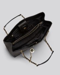 DKNY - Black Tote Saffiano Shopper with Chain Strap - Lyst