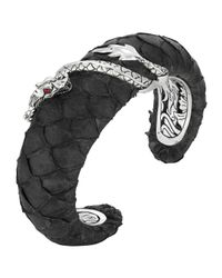John Hardy | Black Naga Exotic Leather Bold Cuff Bracelet | Lyst