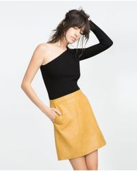 Zara | Yellow Faux Leather Skirt | Lyst