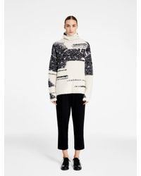 DKNY | White Pure Intarsia Turtleneck Pullover | Lyst
