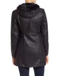 MICHAEL Michael Kors | Black Faux Fur-lined Zip-front Coat | Lyst