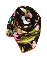 Echo - Black 'Tropical Flower' Square Silk Scarf - Lyst