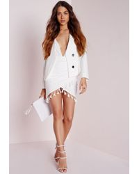 Missguided | Tassel Trim Wrap Mini Skirt White | Lyst