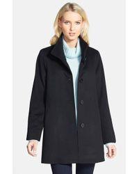 Fleurette | Black Stand Collar Cashmere Coat | Lyst