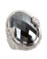 Judith Ripka - Hematite And White Sapphire Fleur-de-lis Oval Ring - Lyst