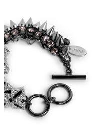Venna - Metallic Crystal Tiger And Spike Bracelet - Lyst