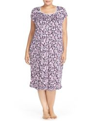 Eileen West | Blue 'autumn Rose' Floral Print Short Nightgown | Lyst