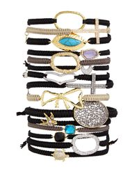 Tai | Black Square Crystal Station Bracelet | Lyst