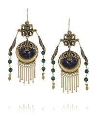 Etro | Blue Gold-Plated, Sodalite And Tiger'S Eye Earrings | Lyst