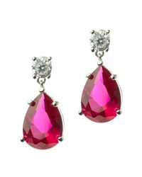 CZ by Kenneth Jay Lane | Red 8cttw Round/pear Cz Ears | Lyst