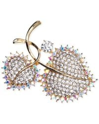 Jones New York | Multicolor Gold-tone Pavé Double Leaf Pin | Lyst