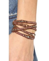 Chan Luu - Beaded Wrap Bracelet - Rose Gold/natural Brown - Lyst