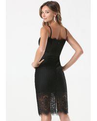 Bebe | Black Lace Strapless Midi Dress | Lyst