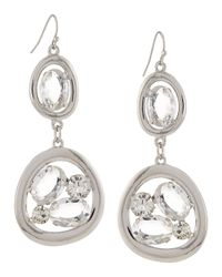 R.j. Graziano - Metallic Open Crystal Double-drop Earrings - Lyst