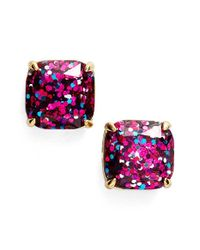 kate spade new york | Pink Glitter Stud Earrings | Lyst