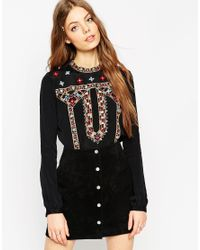 ASOS | Black High Neck Vintage Embroidery Top | Lyst