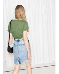 & Other Stories | Green Roll Up Lyocell T-shirt | Lyst