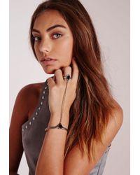 Missguided - Metallic Stone Gem Hand Harness Silver - Lyst