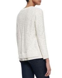 Lafayette 148 New York | White Nubby Sweater W/Linen Trim | Lyst