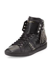 Saint Laurent - Black Studded-fringe Leather High-top Sneaker - Lyst