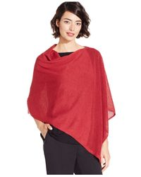 Eileen Fisher | Red Asymmetrical Contrast-knit Poncho Sweater | Lyst