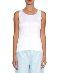 Pleats Please Issey Miyake - White A-line Sleeveless Pleated Top - Lyst