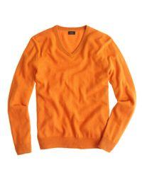 J.Crew | Orange Tall Italian Cashmere V-Neck Sweater for Men | Lyst