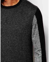 ASOS - Black Colour Block Jumper In Merino Wool Mix for Men - Lyst