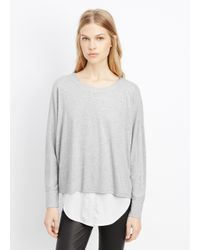 Vince - Gray Mixed Media Double Layer Top - Lyst