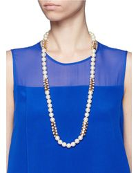Kenneth Jay Lane | Metallic Crystal Cluster Pearl Necklace | Lyst