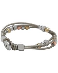 Fossil - Gray Multistrand Beaded Wrist Wrap Bracelet - Lyst