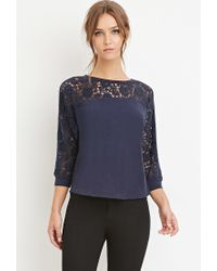 Forever 21 - Blue Crochet-paneled Dolman Top - Lyst
