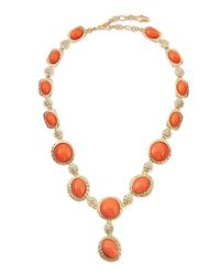 Kenneth Jay Lane | Pink Cabochon & Crystal Y-necklace | Lyst