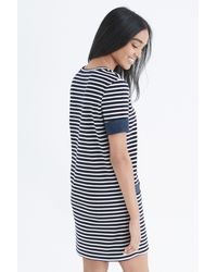 Oasis - Blue Chambray Pocket Stripe Shift Dress - Lyst