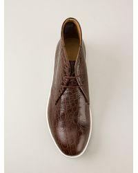 Giorgio Armani - Brown Crocodile Print Desert Boot for Men - Lyst