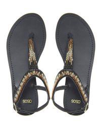 ASOS | Gold Asos Fete Flat Sandals | Lyst