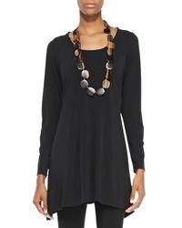 Eileen Fisher - Black Silk Jersey Long-Sleeve Tunic - Lyst