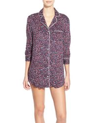 Splendid | Multicolor Button-Up Sleep Shirt With Pipe Trim | Lyst