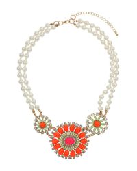 TOPSHOP - Orange Triple Bright Flower Necklace - Lyst