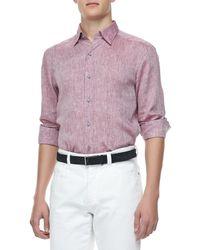 Ermenegildo Zegna - Pink Linen Sport Shirt Wine for Men - Lyst
