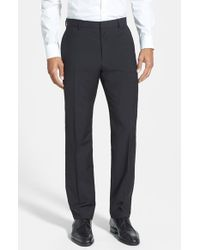 HUGO | Black 'hamen' Flat Front Wool Trousers for Men | Lyst