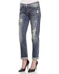7 For All Mankind | Blue Josefina Destroyed Vintage Denim Jeans | Lyst