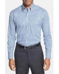 Peter Millar - Blue 'nanoluxe' Regular Fit Wrinkle Resistant Twill Check Sport Shirt for Men - Lyst